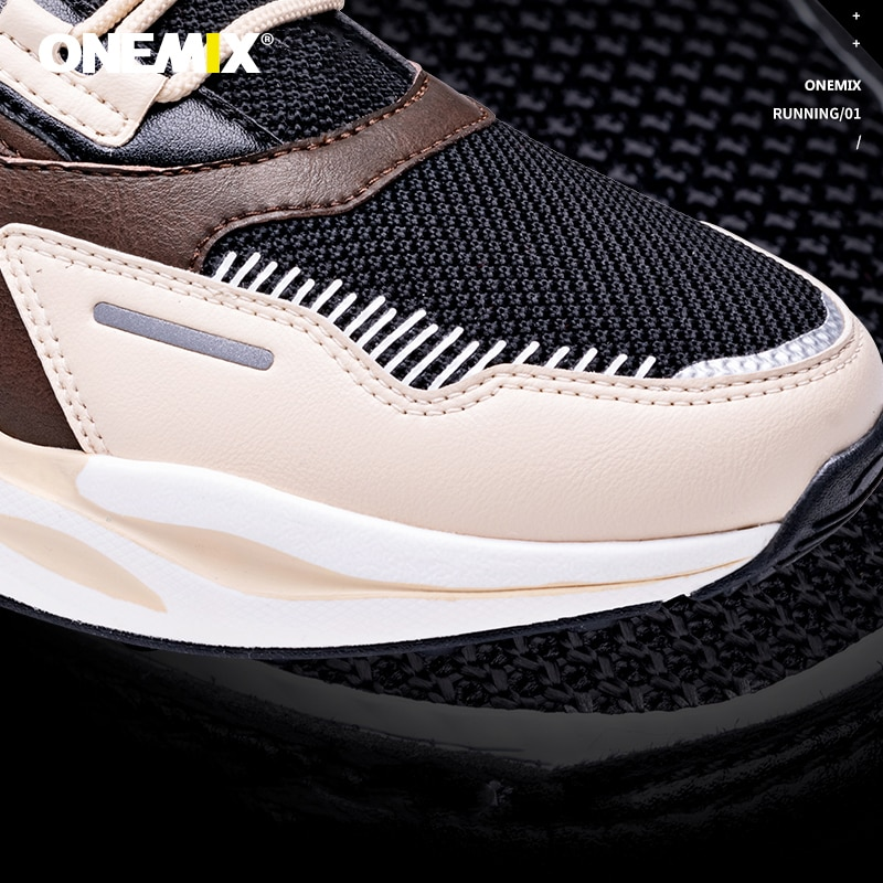 Купить с кэшбэком ONEMIX 2021 Men Sneakers Lightweight Breathable Lace Up Adult Male Outdoor Athletic Casual Training Retro Running Jogging Shoes