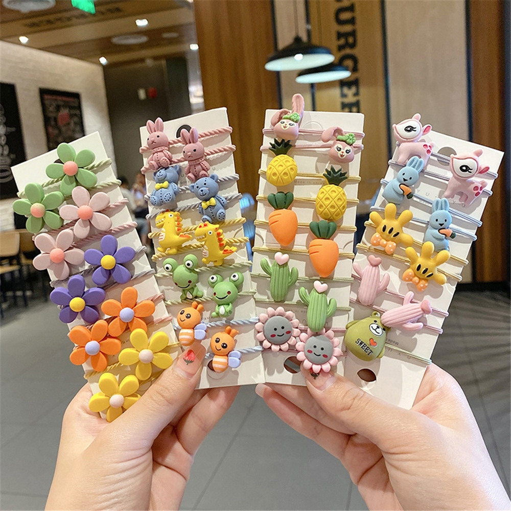 1pc colorful little girl hair rope ribbon bows elastic hair rubber bands kids ponytail holder children hair accessories ties gum 10pcs Girls Hair Accessories nylon ties Elastic Hair Bands Children Ponytail Holder Rubber Bands Kids Headband gum for hair