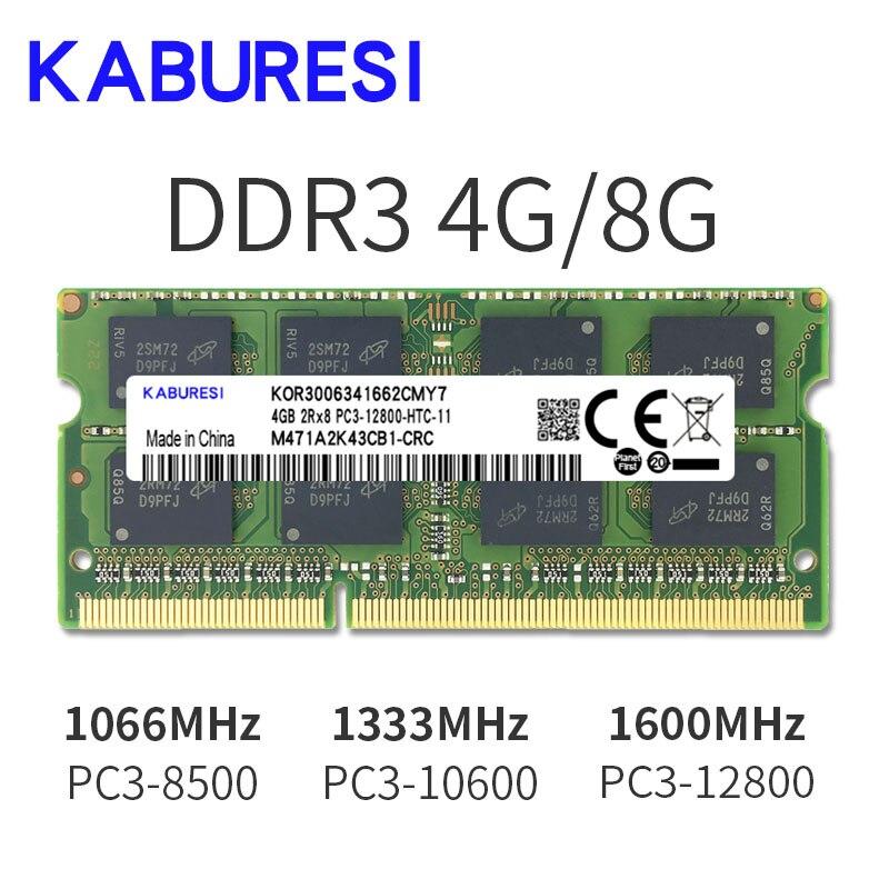 Kabures- memoria Ram DDR3 para portátil, 2GB, 4GB, 1066MHz, PC3-8500, sodimm, 1,5...