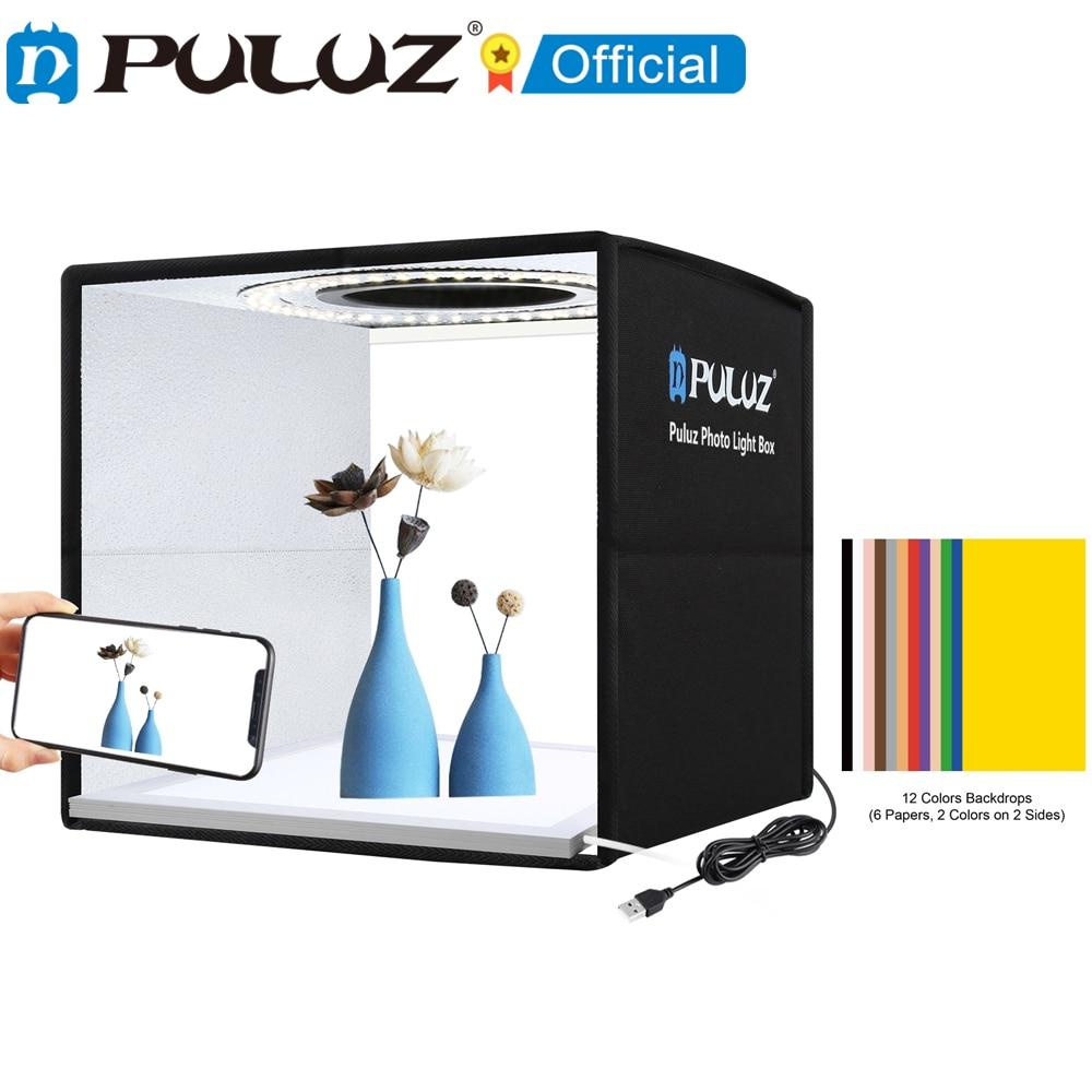 PULUZ 25cm 30cm Photo Studio Light Box & 12 6 Colors Background Tabletop Lightbox Photography Soft Shooting Tent Box Ring Light