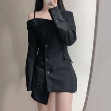 Women's Autumn New Dress Casual Simple Fashion Commuter Style Solid Color Lapel Asymmetrical Slim Fi
