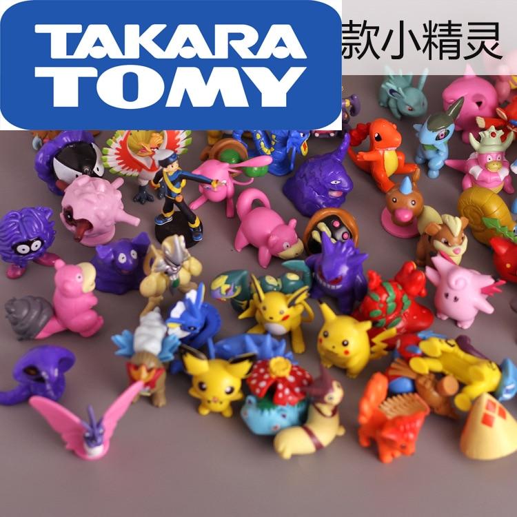 3-6cm Takara Tomy Pokemon Pikachu 80 diferentes estilos 80 unids/bolsa nueva colección de figuras de juguete de acción de muñecas pks modelo