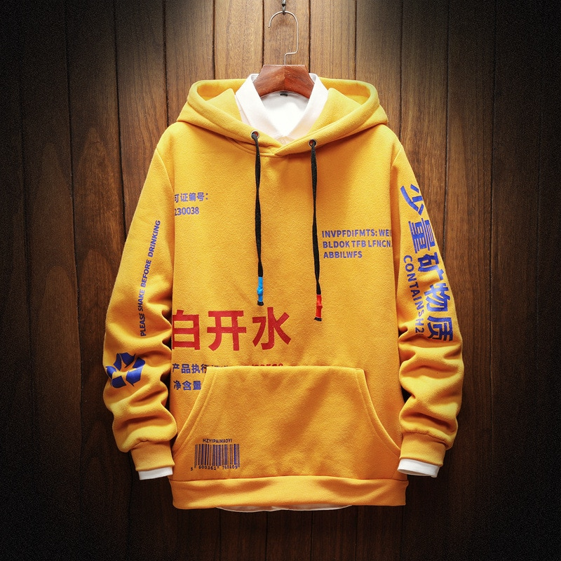Sudaderas con capucha para hombre, moda 2020, Harajuku de lana para hombre, ropa de calle estilo japonés, sudadera de Hip Hop, Sudadera con capucha para hombre