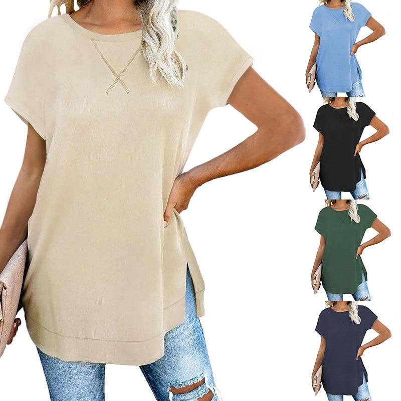 Women Summer Fashion Split T-shirt 2020 Casual Loose Short Sleeve Tshirt Sexy O-neck Cotton T Shirt Femme Pure Ladies Tops Tees