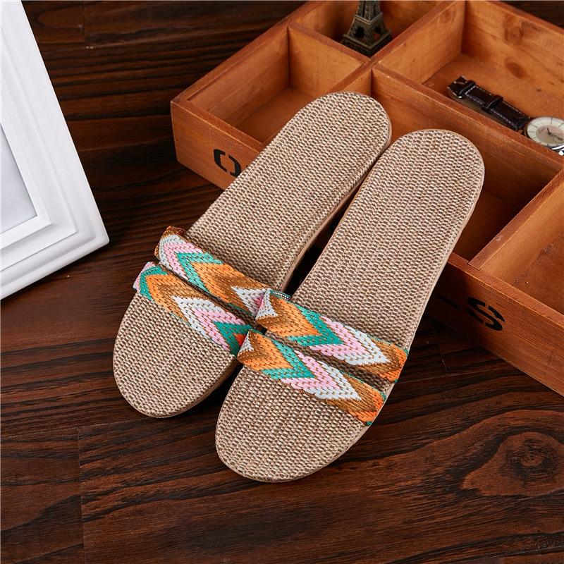 Summer Unisex Linen Non-slip Eva Gradient Stripe Comfortable Silent Sweat Large Size Slippers for Men Women Bedroom Flip Flops