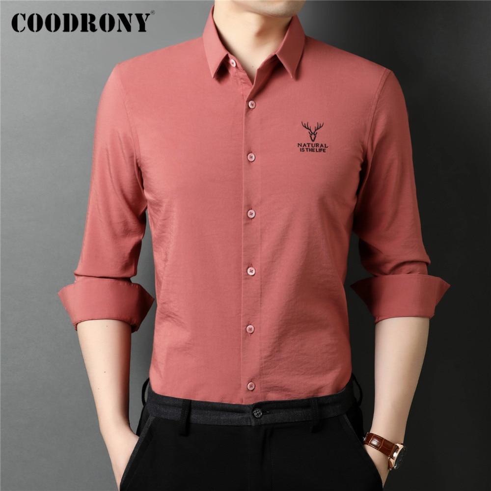 COODRONY-قميص رجالي بأكمام طويلة ، ملابس غير رسمية ، قصة ضيقة ، جودة عالية ، مجموعة ربيع الخريف الجديدة ، C6120