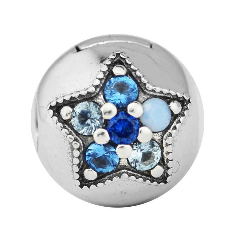 Cuentas de Clip de estrella brillante para pulseras de dijes de plata 925 originales, joyería de mujer, pavimento piedra, cuentas redondas para hacer joyas