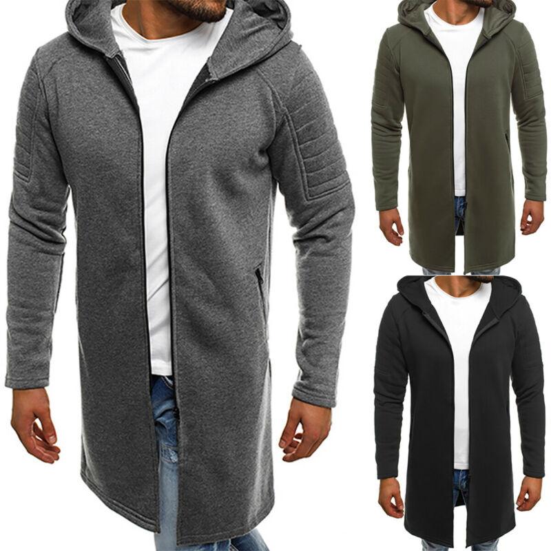 Мужские теплые зимние толстовки, удлиненные куртки, удобный тренчкот с капюшоном, верхняя одежда, Топ