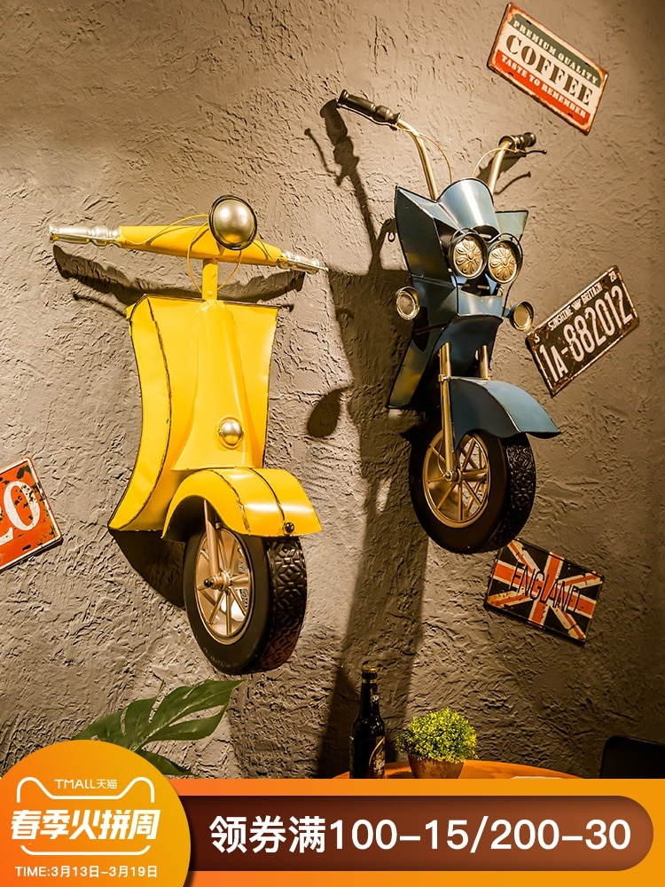 Colgante de pared de tienda, decoración industrial de Metope de viento para Bar, hierro forjado original para restaurante, colgante tridimensional para motocicleta