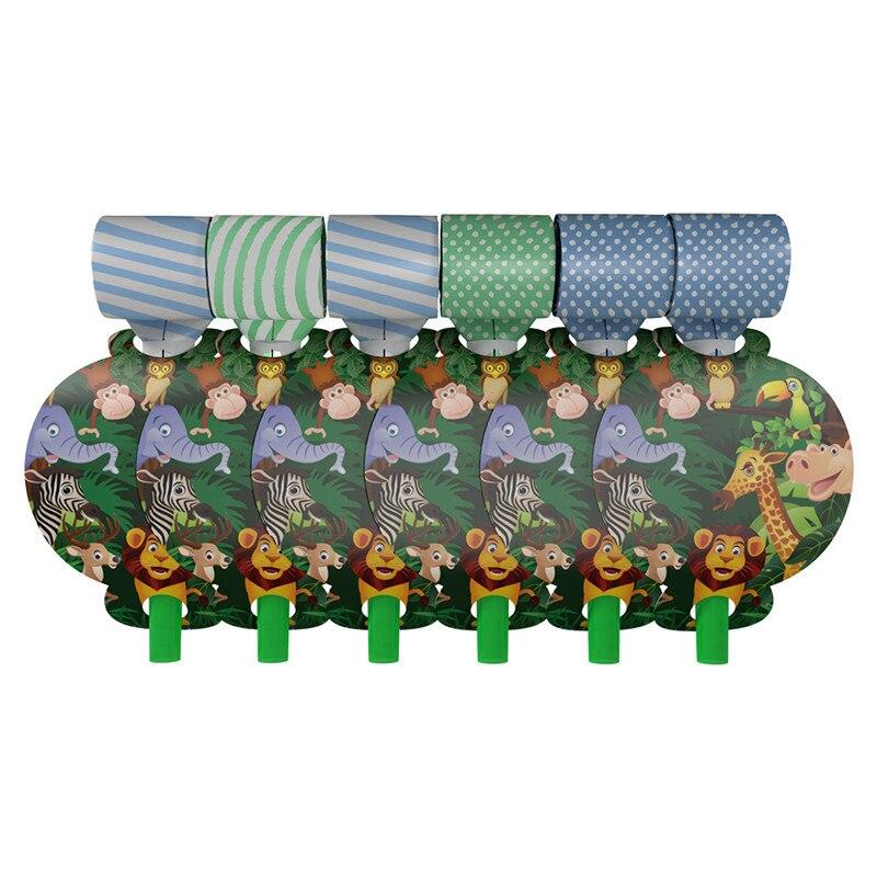 6 uds. De dibujos animados de animales de la selva para los niños decoraciones de fiesta de cumpleaños de plástico soplado fabricantes de ruido favores del bebé suministros para fiestas