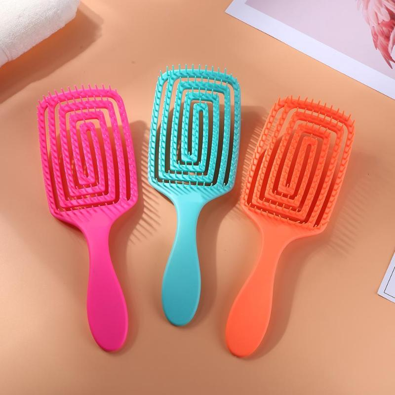 Durable cepillo de pelo peine para masaje del cuero cabelludo hueco mujeres salón de goma antideslizante mango estilo cepillo de masaje