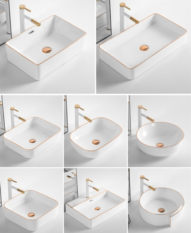 Art Golden Above Counter Basin Household Ceramic Wash Basin Bathroom Single Basin Hotel White Vessel Sink  Villa Sink Basins Set
