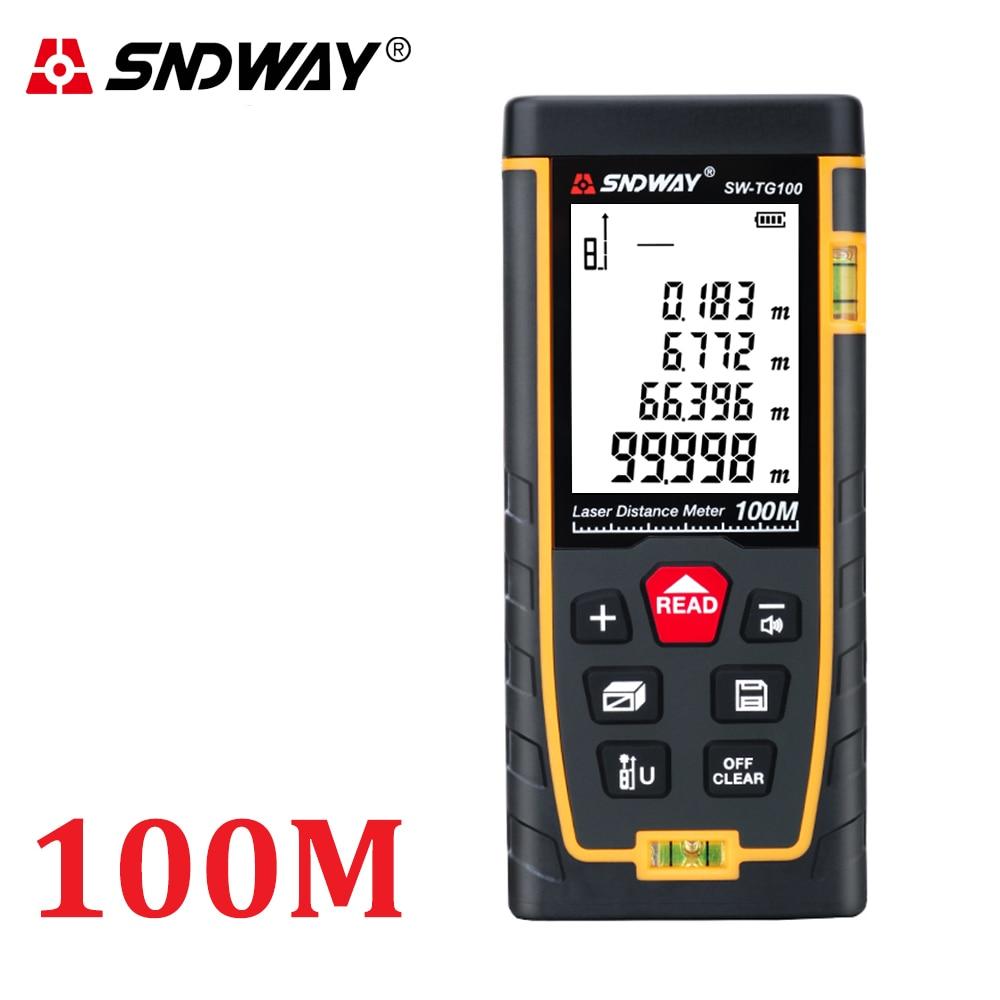 Medidor de distancia láser SNDWAY 40M 50M 70M 100M 120M Telémetro Láser cinta de trena regla láser medidor de distancia herramienta medidor