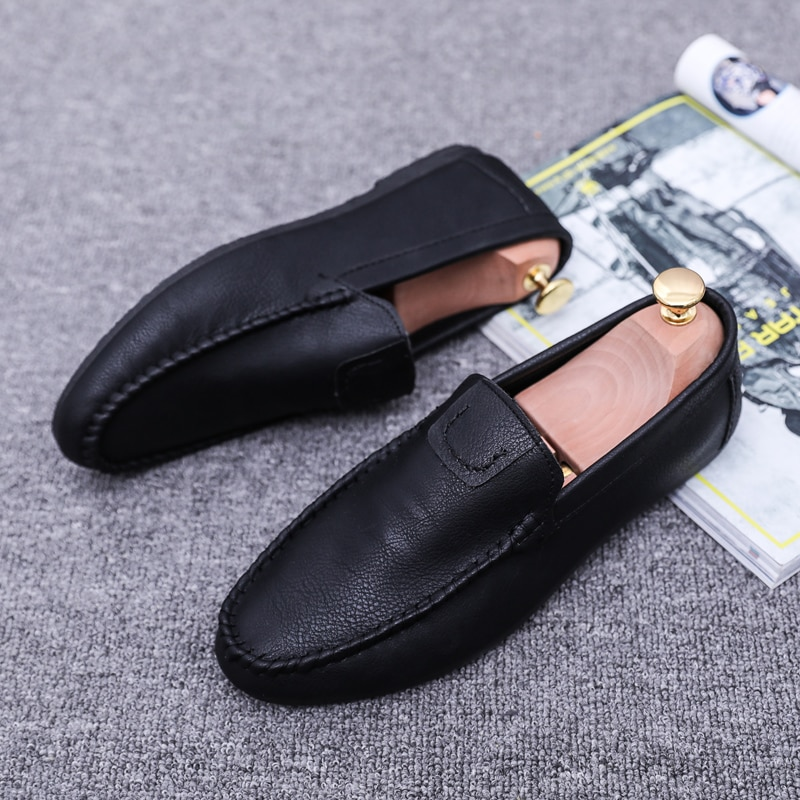 New Peas Shoes Comfortable Men Leather Casual Shoes Footwear Chaussures Flats for Men Slip on Lazy S