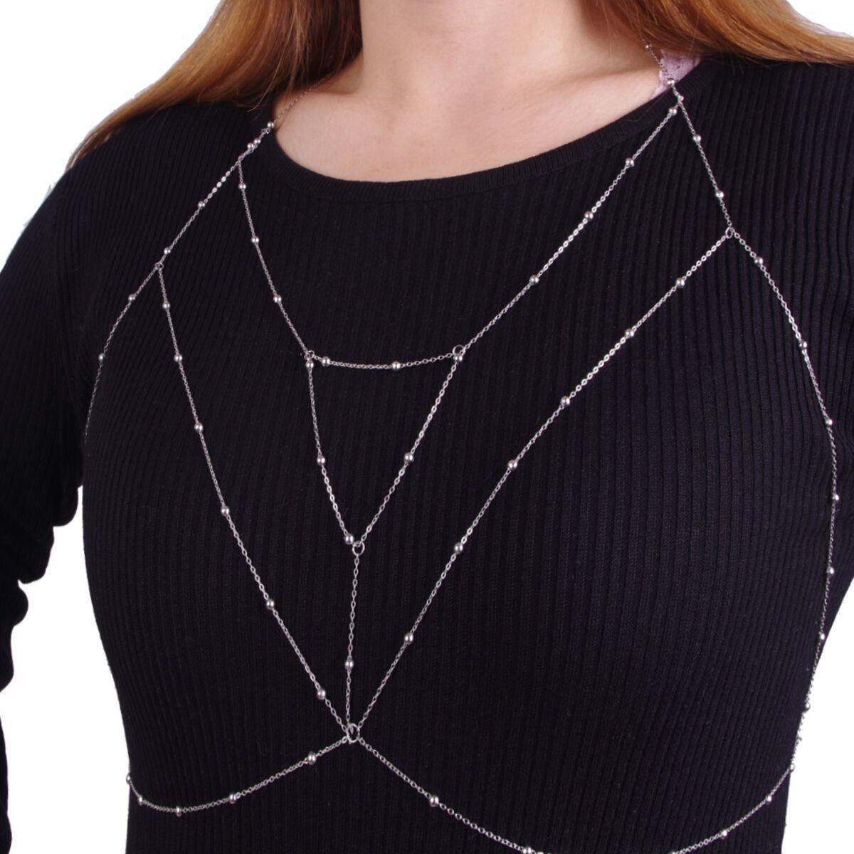 Chaîne de corps, accessoires de mode pour dames, Style créatif Simple et rétro, chaîne de poitrine en perles de cuivre