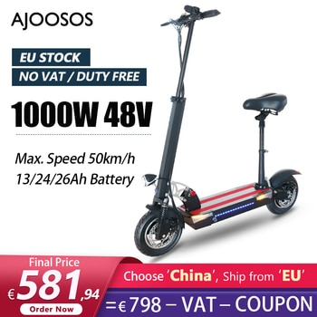 EU STOCK, No VAT 1000W Electric Scooter with Seat 10 inch Escooter 2 wheels 50km/h Skateboard Folding Electric Scooters Adults