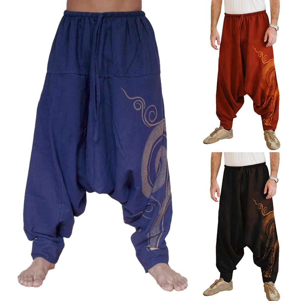 Men Stylish Drawstring Drop Crotch Ankle Tied Baggy Trousers Long Harem Pants Trousers Long Harem Pants Trousers Long Harem Pant
