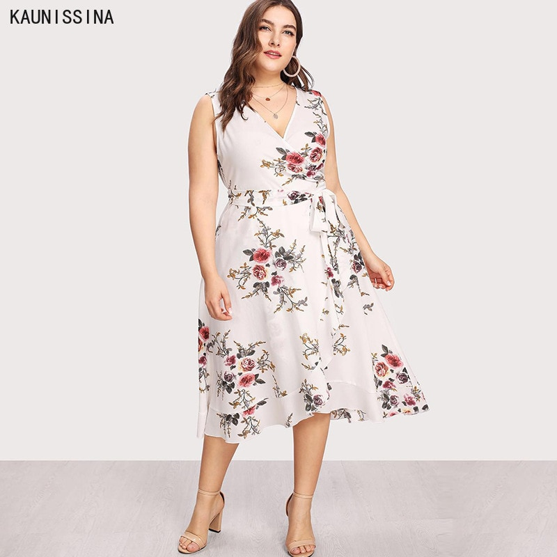 Sexy V-Neck Plus Size Dress Women Holiday Floral Print Beach Dresses Casual Women Summer Sleeveless
