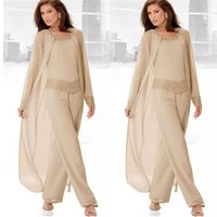 champagne mother of the bride dresses pants suit with long jacket beaded flowing chiffon tunic wedding guest dresses 3 pieces