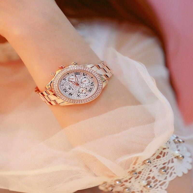 Top Quality Women Watches Ladies Rhinestone Watch Luxury Rose Gold Waterproof Watches Womens Classic Ladies Watch Reloj Mujer enlarge