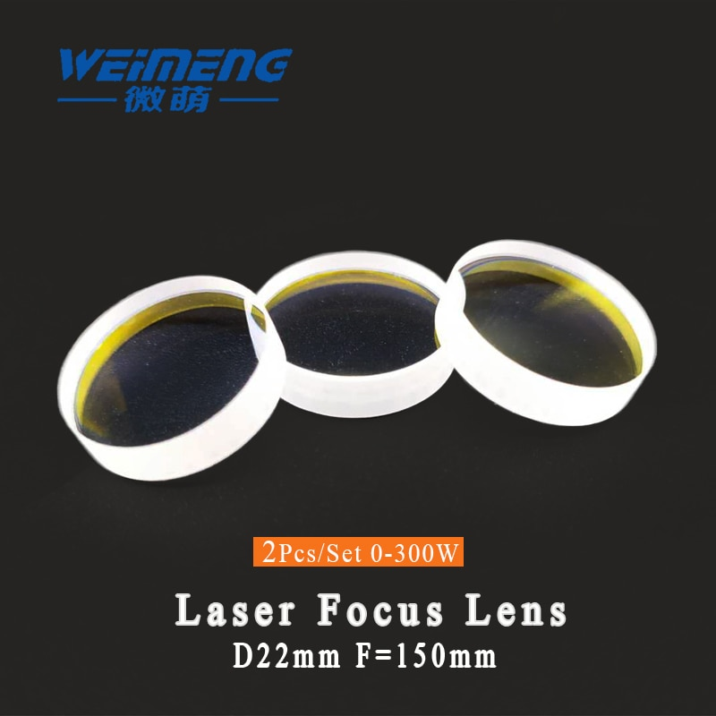 Lente de enfoque láser Weimeng 2 piezas diámetro 22mm F150mm H-K9L forma plana-convexa para máquina de soldadura de corte por láser
