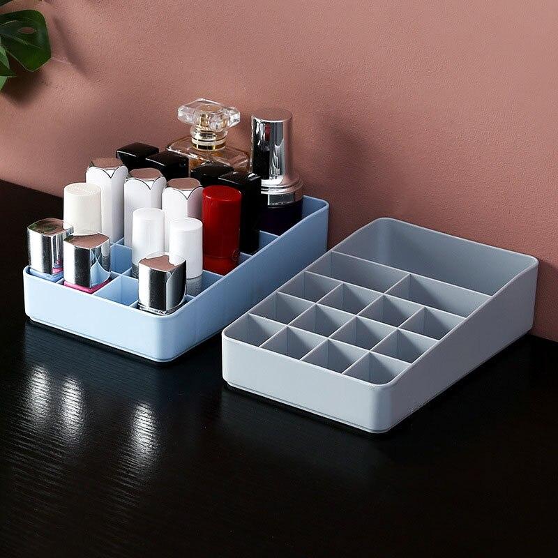 Yicleaner caixa de armazenamento de maquiagem de plástico organizador de cosméticos caixa de armazenamento de desktop batom unha-polonês escova titular compõem caso