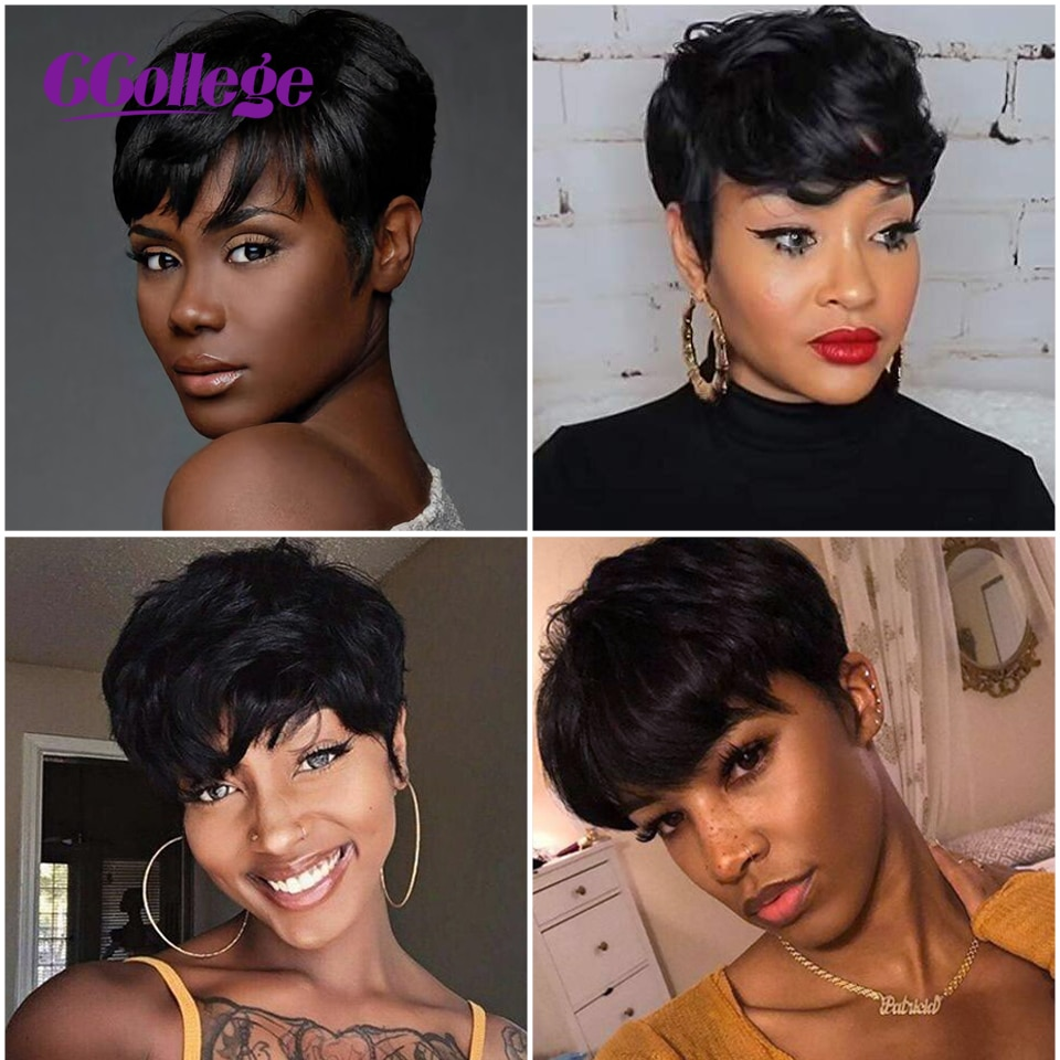 Ccollege Straight Natural Wave Wigs Pixie Cut Wig For Women Brazilian 100% Remy Human Hair Wigs Machine Made Free Shipping enlarge