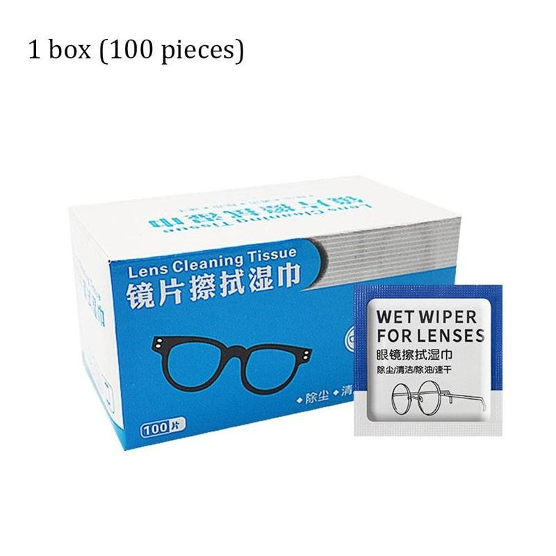 100pc Glasses Cleaner Wet Wipes Cleaning Lens Disposable Anti Fog Misting Dust Remover Sunglasses Ph