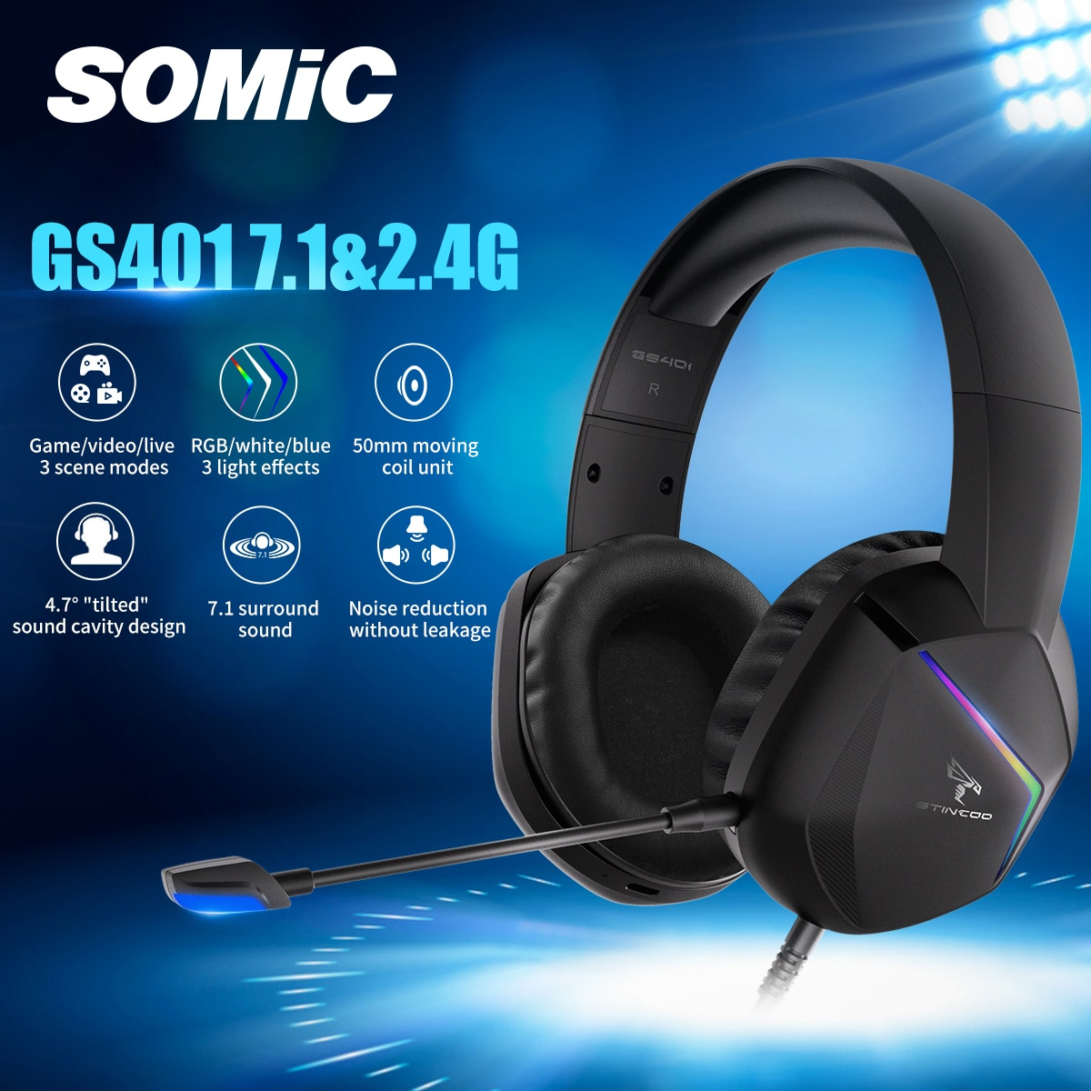 SOMIC Gaming Headset Game/Video/Live 3 Modes LED Headphones 7.1 Surround Sound Wireless/Wired for PC