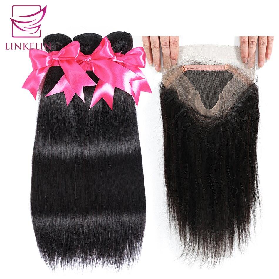 LINKELIN البرازيلي حزم من شعر مفرود مع 360 الدانتيل إغلاق أمامي اللون الطبيعي شعر ريمي 3 حزم مع إغلاق