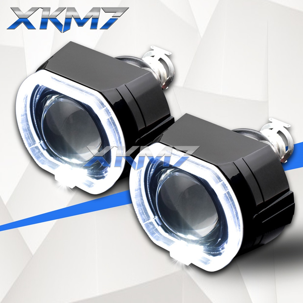 Auto Car Lenses H4 H7 Bixenon Projector Headlight Angel Eyes 2.5 Lens LED Running Lights For Car Acc