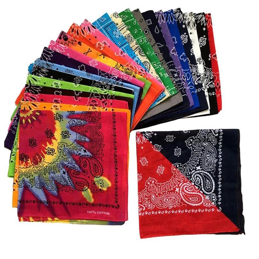 Neue Unisex Baumwolle Hip Hop Bandana Headwear Fashion Paisley Haar Band Schal Hals Handgelenk Wrap Magisches Quadrat Schals Taschentuch