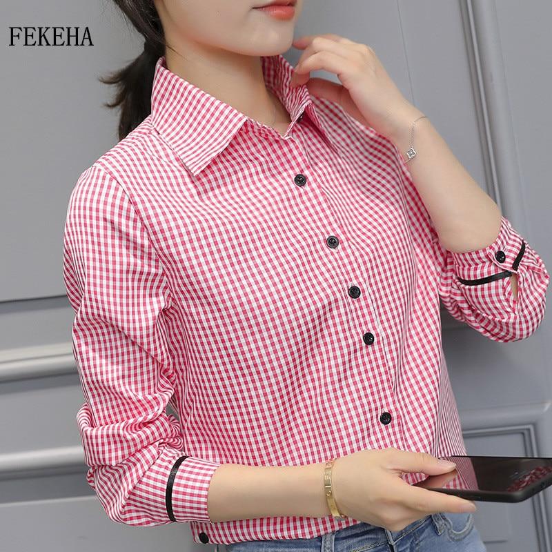 Outono feminino camisa branca blusa feminina manga longa casual turn-down colarinho xadrez camisa senhora topos roupas blusas mais tamanho