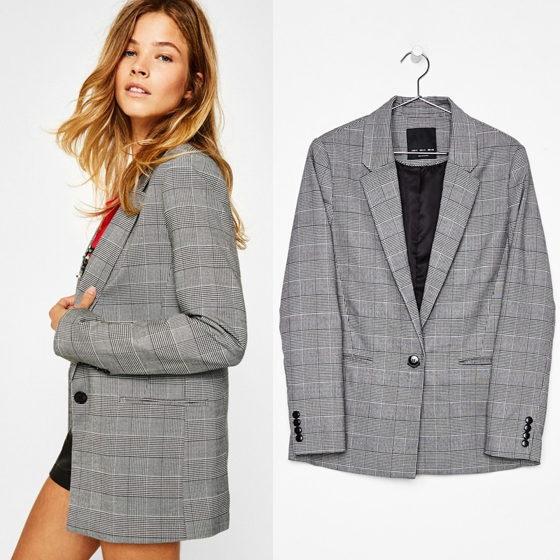 European and American plus Size Women's Suit Jacket Spring and Autumn Leisure Loose One Button Plaid