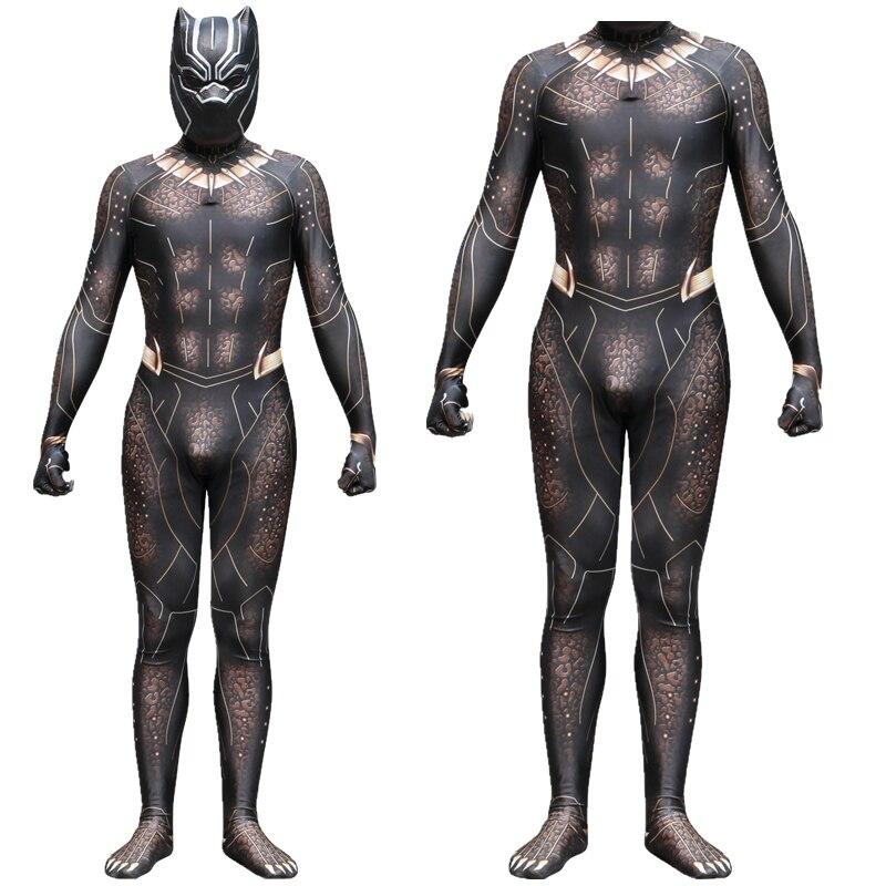 Pantera Negra Erik Killmonger oro Jaguar Cosplay traje mono fantasía máscara Zentai