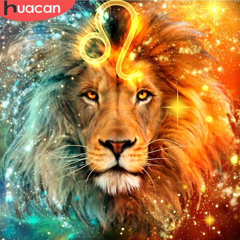 HUACAN DIY diseño del león bordado con diamantes 5d cuadro de punto de cruz de diamantes de imitación mosaico constelación