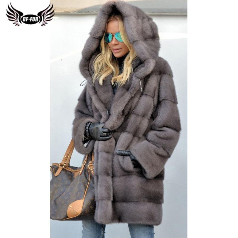 BFFUR الطبيعية فرو منك معطف للنساء 2021 موضة طويلة حقيقية فرو منك فرو سترات مع هود معاطف فاخرة بيلت الفراء معطف امرأة