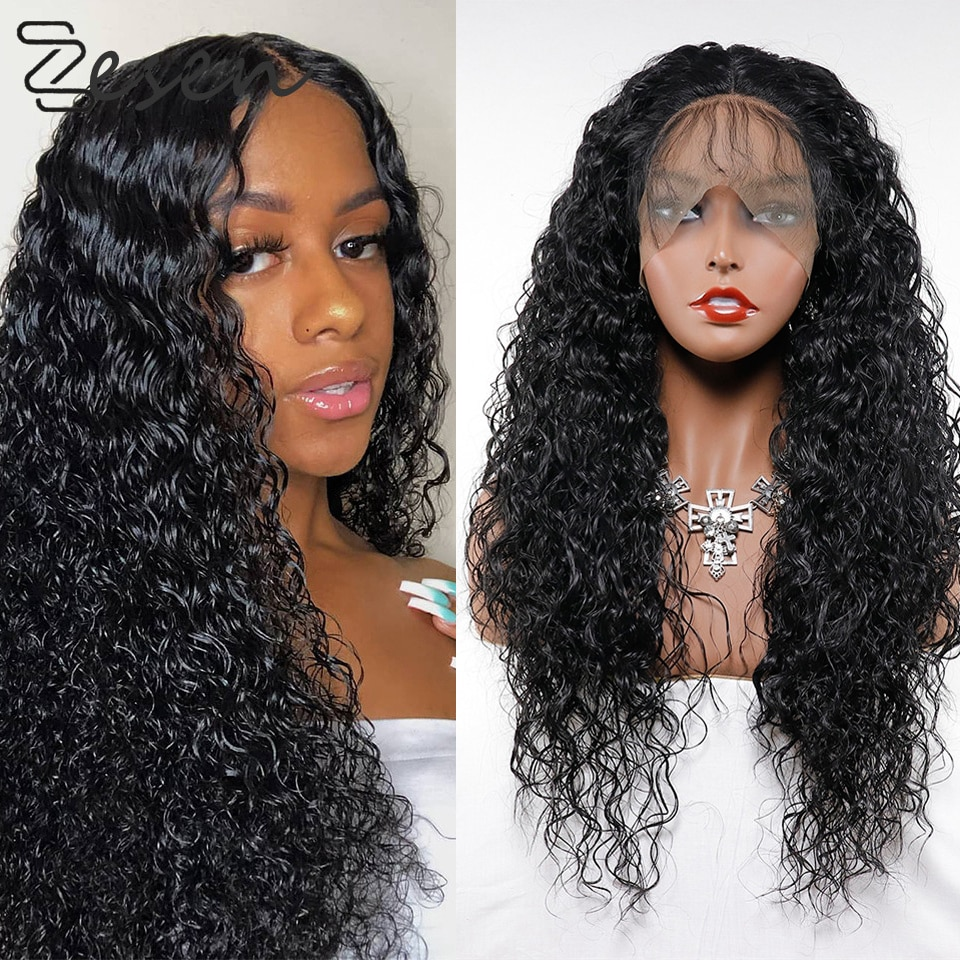 Zesen Free Shipping Black Loose Curly Synthetic Lace Front Wig Baby Hair Water Wave Heat Resistant Fiber Hair Half Hand Tied Wig