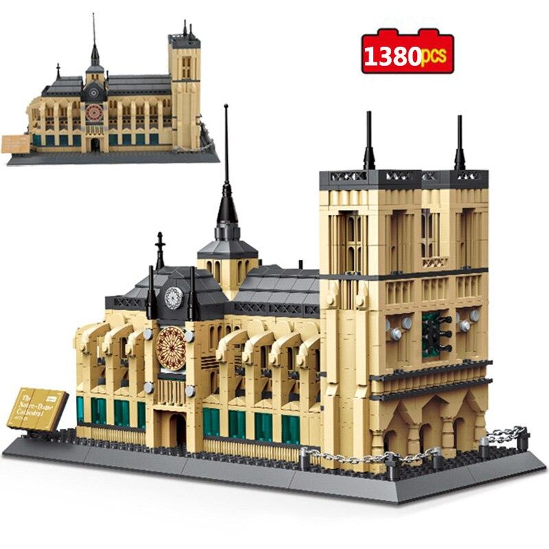 1380PCS Architecture NOTRE DAME CATHEDRAL of Paris Building Blocks World Famous Landmark Model Bricks Toys For Kids