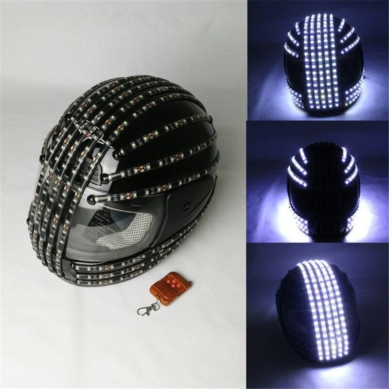 Casco LED estroboscópico blanco, disfraces luminosos LED, Control remoto inalámbrico, actuaciones de baile láser Robot