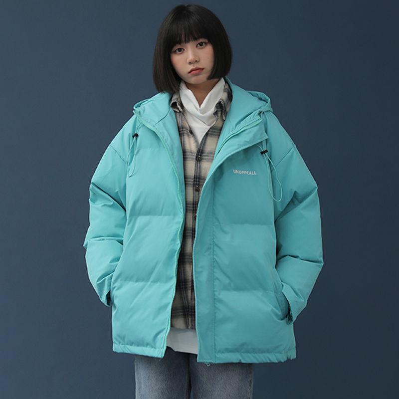 سترة الشتاء المتضخم 2021 الكورية مقنعين سترة فضفاضة النساء القطن مبطن معطف قصير رشاقته الدافئة الوقوف طوق السيدات ملابس خارجية