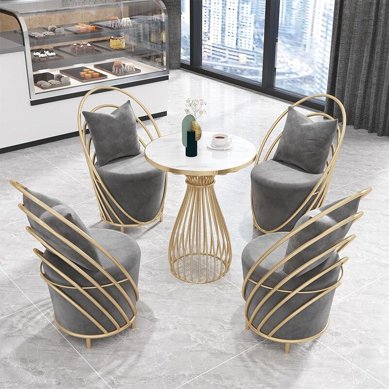 Скандинавские стулья, кофейный столик, набор из 4 простых предметов, стиль Инопланетянин, деловая мебель, мраморные письменные столы для при... складные письменные столы для школьника купить
