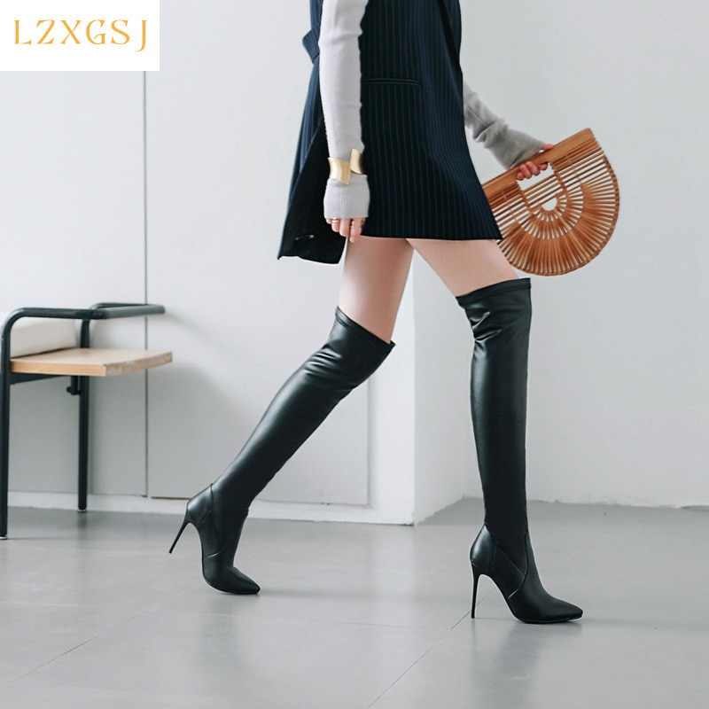 Women's High Boots Opinted Toe Winter Thigh Boot Femme Woman Shoes Leather Over The Knee Boots Female Women Shoes Designer