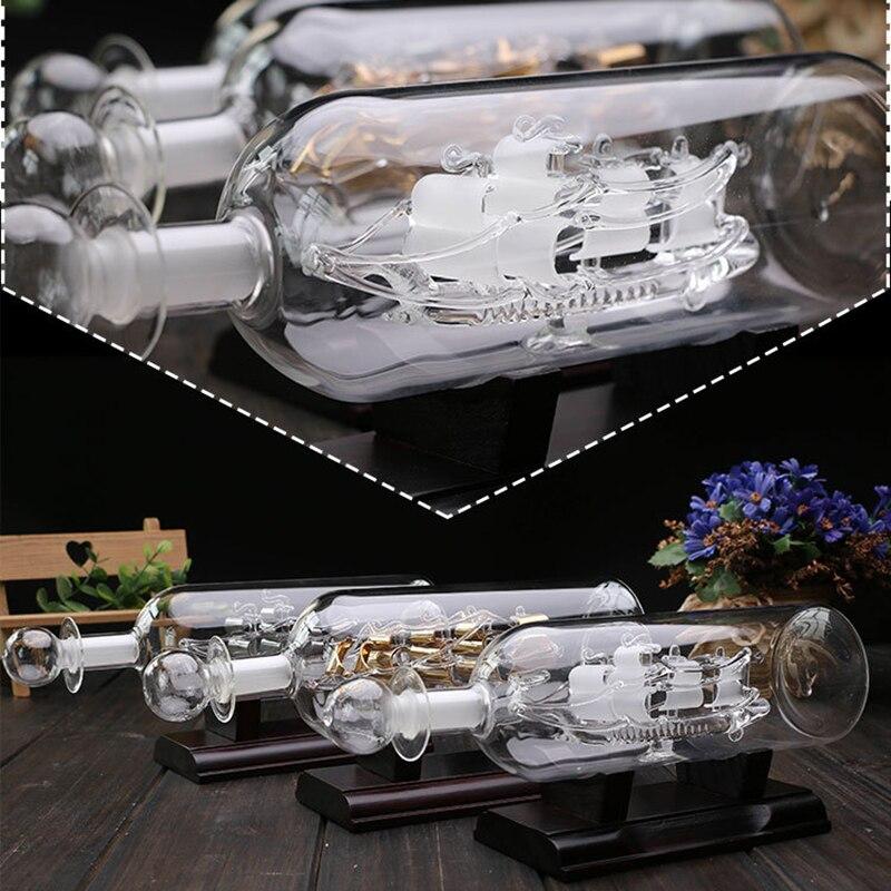 Botella a la deriva De velero con Base De madera 3D, ornamento...