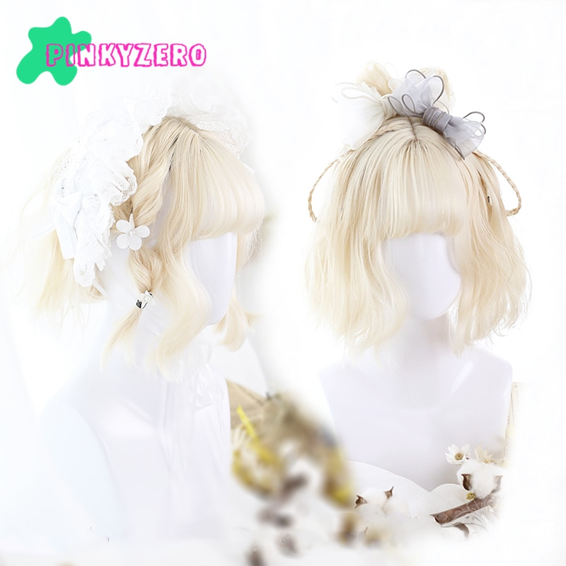 أشقر شاحب لوليتا شعر مستعار Harajuku هامش الانفجارات قصيرة متموجة مجعد الشعر الاصطناعية Kawaii الأميرة النساء الفتيات شعر مستعار الحرة غطاء