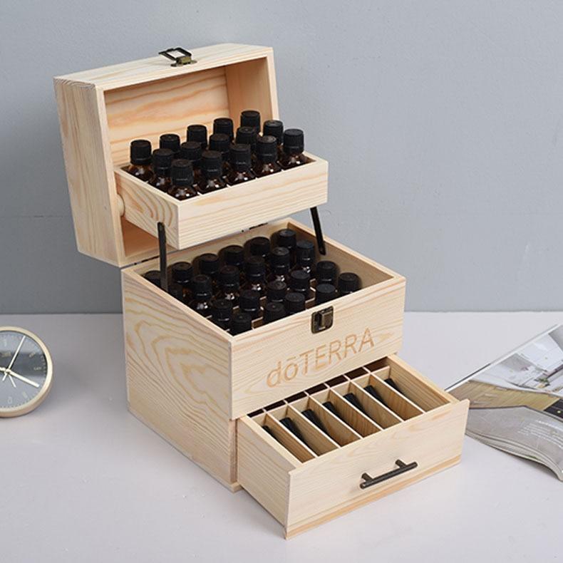 صندوق تعبئة زيت أساسي من ثلاث طبقات ، صندوق تخزين خشبي ، تغليف زيت أساسي Duoge ، منظم درج صالون التجميل