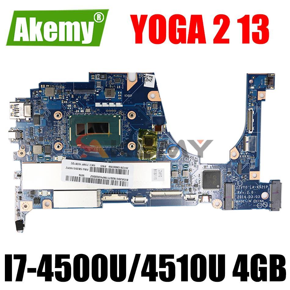 ZIVY0 LA-A921P لينوفو اليوغا 2 13 اللوحة الأم للكمبيوتر المحمول FRU:90005926 مع SR16Z SR1EB I7-4500U/4510U 4GB RAM 100% اختبارها بالكامل