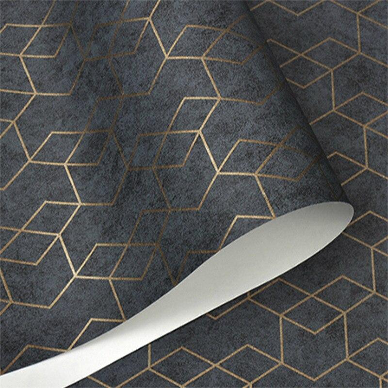 Темно-серая Роскошная Геометрическая настенная бумага в рулоне, черная, серая настенная бумага, современный дизайн, фон для спальни, гостин...