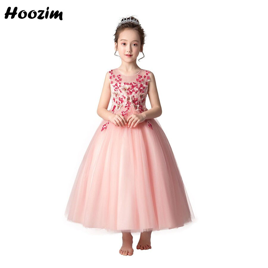 Beleza princesa tule sem costas concurso e passarela vestido meninas 6-13 anos bom bordado borboleta vestidos de festa de casamento meninas