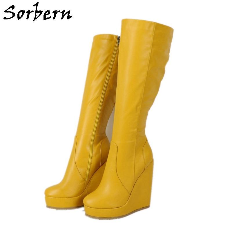 Sorbern-حذاء أصفر بكعب ويدج بطول الركبة ، أحذية شتوية مريحة ، للجنسين ، مقاس كبير أو نحيف ، مخصص